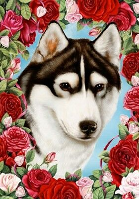 Large Indoor/Outdoor Roses Flag - Black & White Siberian Husky 19038