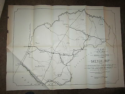 "Large Orange Free State Cape Colony Proposed Railroad Map 24"" x 35 1896 Capetown"