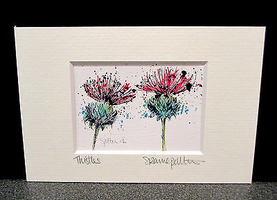 Thistles. Mini art print from an original painting by Suzanne Patterson.XX