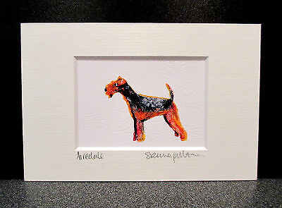 Airedale terrier. Mini art print from an original painting by Suzanne Patterson