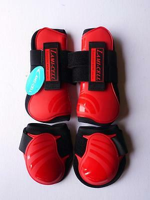 Tendon Fetlock LAMI-CELL T/F Protective Boots Horse Neoprene lined Set of 4 -RED
