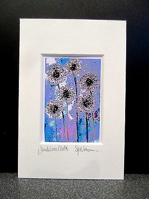 Dandelion Clocks.Mini art print from an original painting by Suzanne Patterson.