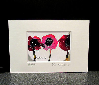 Poppies. Mini print from an original painting by Suzanne Patterson.X