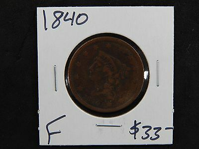 1840 Fine Braided Hair Large Cent Circulated