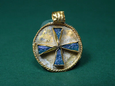Ancient Gold & Glass Cross Pendant Byzantine 400-600 Ad