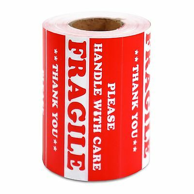 "500 PCS 3"" x 5"" Handle With Care Fragile Label Warning Sticker Semi Gloss Red"