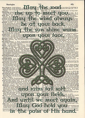 Irish Blessing Celtic Knots Altered Art Print Upcycled Vintage Dictionary Page