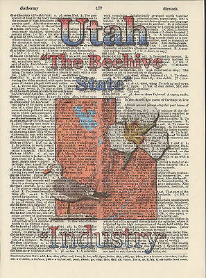 Utah State Map Symbols Altered Art Print Upcycled Vintage Dictionary Page