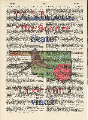 Oklahoma State Map Symbols Altered Art Print Upcycled Vintage Dictionary Page