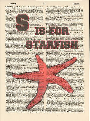 S is for Starfish Alphabet Altered Art Print Upcycled Vintage Dictionary Page