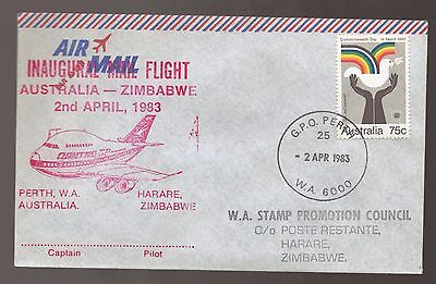 1983 Inaugural Mail Flight Australia - Zimbabwe  with Perth and Harare Cancels