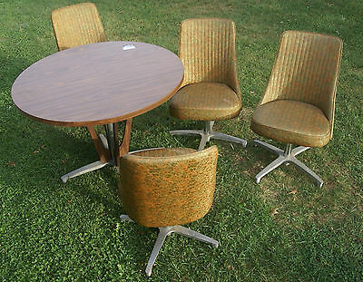 Chromcraft Vintage Mid Century Modern Dinette / Table with 4 Swivel Chairs