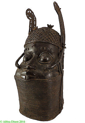 Benin Royal Bronze Head of Oba Edo Nigeria African Art