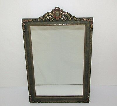 Antique Art Nouveau Ornate Wood Gesso Wall Mirror 23 x 14 Rectangle Gold Scroll