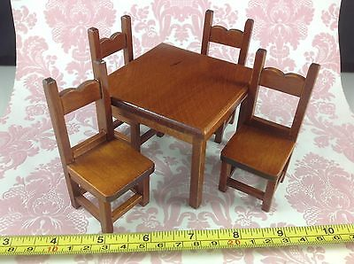 Dollhouse Miniature Kitchen Furniture Mahogany Wood Dining Table 4 Chairs 1:12