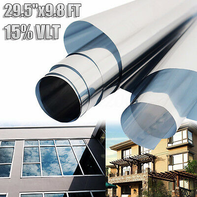 "29.5"" x 9.8FT 15% VLT Silver Film One Way Mirror  Window Reflective Home Tint"