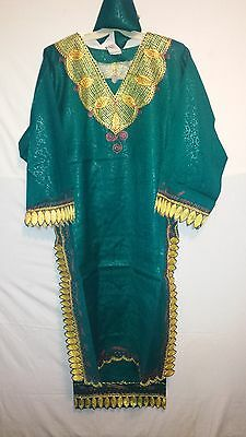 African Women Clothing Long Skirt suit Traditional Ethnic T Green Free Size