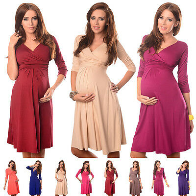 Purpless Maternity Women's 3/4 Sleeve Pregnancy V-Neck Formal Dress Top D4400