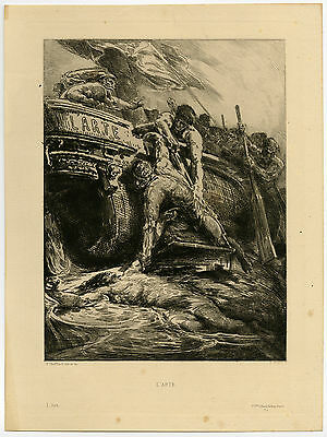 Antique Print-RESCUE-DROWNING-MAN-STORM-Chifflart-1877