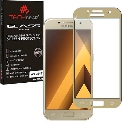 Gold TECHGEAR TEMPERED GLASS FULL Cover Screen Protector Samsung Galaxy A3 2017