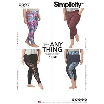 Simplicity Sewing Pattern Women's Knit Legging Plus Size  1X - 5X 8327