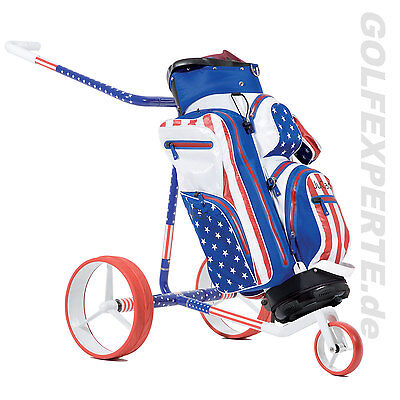 Jucad Golf Travel Usa-Edition Aus Carbon Elektro-Trolley / Elektrocaddy Mit Bag
