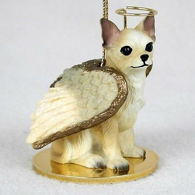 CHIHUAHUA tan brown white DOG ANGEL Ornament Resin Figurine NEW Christmas puppy