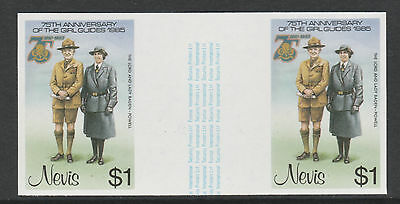Nevis 3329 - 1985 GIRL GUIDES $1 IMPERF GUTTER PAIR unmounted mint