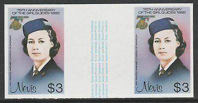Nevis 3331 - 1985 GIRL GUIDES $3 IMPERF GUTTER PAIR unmounted mint