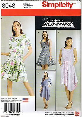 28e274d2800 Fit Flare Asymmetrical Dress Project Runway Sewing Pattern Size 14 16 18 20  22