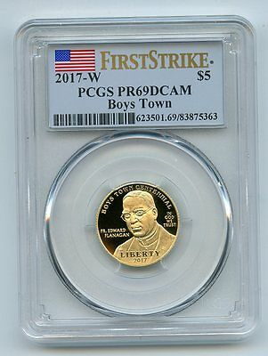 2017 W $5 Boys Town Gold Proof Commemorative PCGS PR69DCAM First Strike