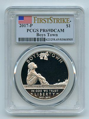2017 P $1 Boys Town Silver Proof Commemorative PCGS PR69DCAM First Strike