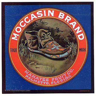 MOCCASIN Brand, Vintage Palmetto Florida *An Original Citrus Crate Label*