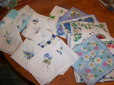 Vintage style ladies handkerchiefs; 24 floral hankies, all with blue
