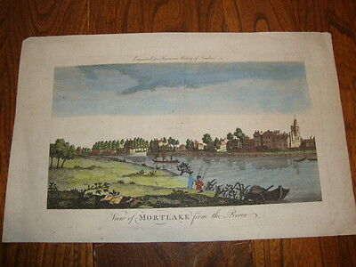 View Of Mortlake From The River Hand ColouredCopperplate Engraving 1775