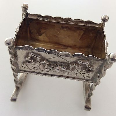 STERLING SILVER MINIATURE ORNATE BABY CRIB DOLL HOUSE FURNITURE 43.4 gram