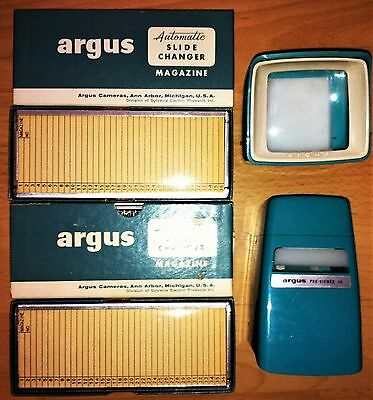 6 Pc LOT 2 ARGUS SLIDE VIEWERS & 4 AUTOMATIC SLIDE CHANGER MAGAZINES