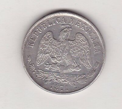 MEXICO SILVER PESO 1871Zs  HIGH GRADE