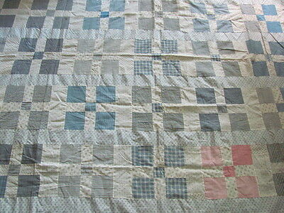 Pretty Unequal Nine Patch cotton quilt top large size restful colors