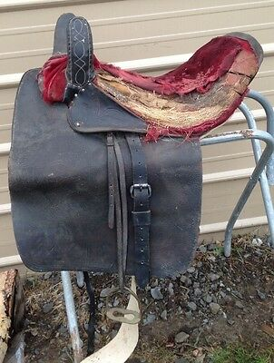 Used/antique Western side saddle for project / decor
