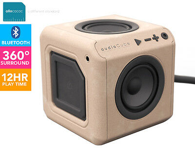 Allocacoc 360° AudioCube Portable Bluetooth Speaker - Beech Wood Finish