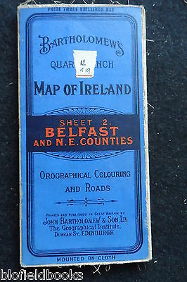 Vintage Bartholomew's Map of Belfast & NE Counties - Ireland - c1926 - Cloth
