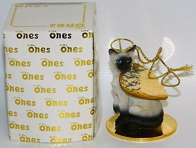 "Siamese Cat Figurine Ornament Angel 2"" Miniature Figure Tiny Ones 1996 Chocolate"