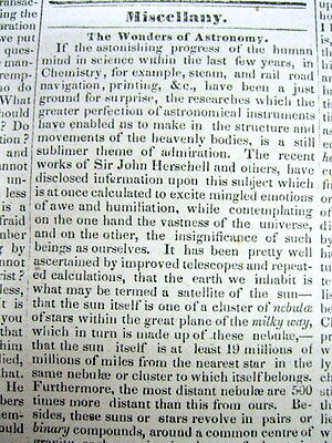 1834 newspaper w long essay explaining WONDERS of ASTRONOMY known 182 years ago