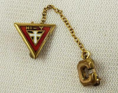 """Vintage HI-Y YMCA Cross Chain Attached Initial """"C"""" Pin Award"""