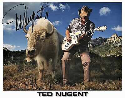 OFFICIAL CELEBRITY WEBSITE Ted Nugent 8x10 Stock Photo COA AUTOGRAPHED