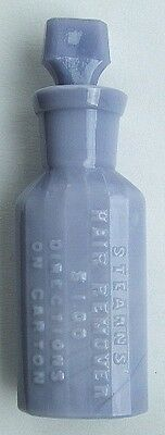 Opaque PURPLE  MILK GLASS antique bottle STEARN'S Hair Remover w/ STOPPER