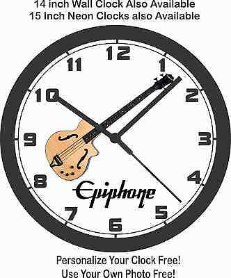 Epiphone Zenith Acoustic Bass Guitar Wall Clock-Free US Ship, Fender, Gibson