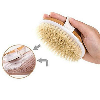 Natural Bristle Wooden Body Brush Massager Bath Shower Back Spa Scrubber New