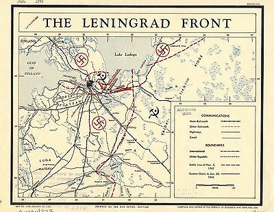 Leningrad Front Russian German Nazi 1943 CIA declassified map World War 2 WWII